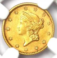 1853 Liberty Gold Dollar Coin G$1 - Certified NGC AU58 - Rare Gold Coin!