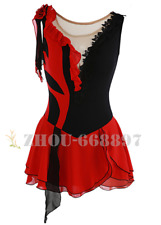 Ice Figure Skating Dress Gymnastics custome Dress Dance Competition Red Black