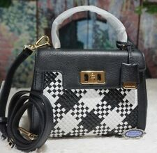 NWT Michael Kors KARSON MINI TH Woven Leather Satchel Bag In OPTICWHT/BLACK $368