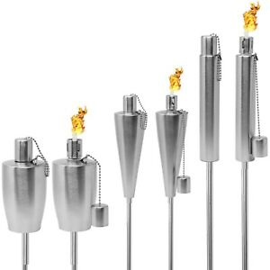 Stainless Steel Torches - Outdoor Oil Lamp for Citronella w/ Wick & Snuffer Cap