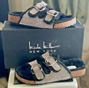 NWOB Nicole Miller BELLOWS Flat & Fluffy sandals- Black & Silver SZ 7 women's