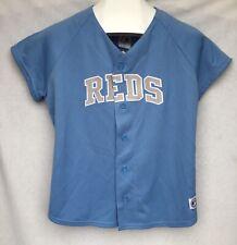 Cincinnati Reds Majestic Baseball Jersey Light Blue Womens Large 12-14 NWT