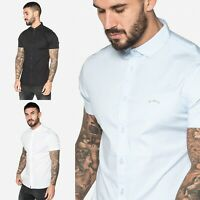 883 Police Mens New Designer Cotton Slim Fit Stretch Collared Short Sleeve Shirt