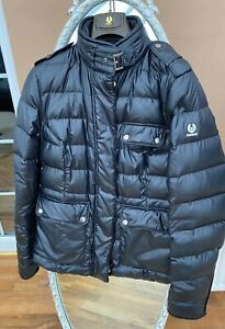 Belstaff Black Leather Goose Down Quilted Ladies Puffer Jacket