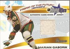 MARIAN GABORIK 2001-02 Bowman Young Stars Fabric of the Future Jersey Wild