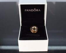Pandora 14K Solid Yellow Gold ALE 585 Brown Spirals Murano Glass Bracelet Charm
