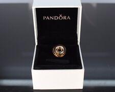 Pandora 14K Solid Yellow Gold ALE 585 Brown Spirals Murano Glass Bracelet Charm