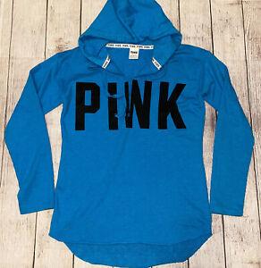 PINK Victoria's Secret  Sz SM High Low Varsity Blue Sweatshirt Hoodie Pullover