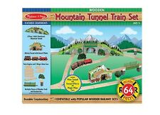 Melissa and Doug Mountain Tunnel Wooden Train Set #611 64 Pieces New Sealed