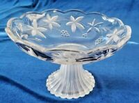 Beautiful Etched / Frosted Crystal Glass Candy Dish with Fluted Compote Pedestal