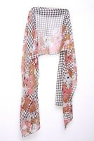 Black White Watermelon Brown Geometrical Print Abstract Flowers Scarf (S105)