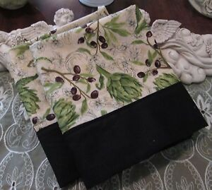 COUNTRY COTTAGE SET OF TWO BLACK OLIVE COUNTRY RUSTIC VINEYARD PILLOWCASES