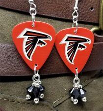 NFL Atlanta Falcons Guitar Pick Earrings with Black Swarovski Crystal Dangles
