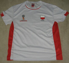 POLAND Official FIFA World Cup Russia 2018 Poly Shirt NEW Size Large White  + Red 5dc2d81e7
