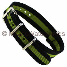 20mm Timex Black Green Nylon 3 Ring Sport Wrap Water Resistant Watch Band TX2012