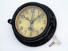 VINTAGE CHELSEA BAKELITE WW2 WWII NAVY SHIPS WINDING MECHANICAL CLOCK BRASS DIAL