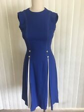 "Vintage 1960's ""PARFAIT ORIGINAL"" Royal Blue & White Mod Linen Dress - sz.6"
