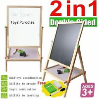 Kids Adjustable  68 cm 2 in 1 Wooden Easel Double Sided Board Educational Toys