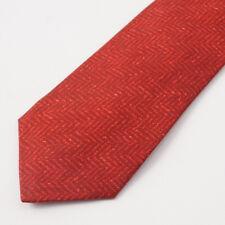 New $295 KITON NAPOLI 7-Fold Red-Burgundy Herringbone Print Silk Tie