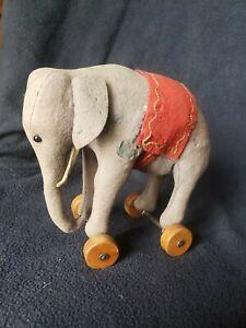 Antique 1915 Steiff Felt Elephant on Wheels with Button