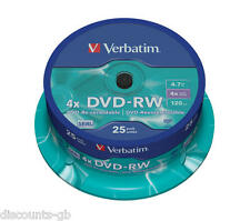 Verbatim 43639 4.7GB DVD-RW - Rewriteable -  Spindle 25 Pack discs ReRecordable