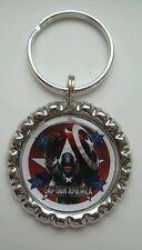 """CAPTAIN AMERICA GO"" Marvel, Key Ring Charm Bottle Cap"