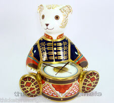ROYAL CROWN DERBY   Paperweight TEDDY BEAR Drummer   LXII   Gold Stopper
