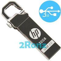 HP x750w 32GB 32G USB 3.0 Flash Drive Disk Metal Stick Pin Lock Carabineer Metal