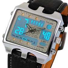 OHSEN Fashion Men's Digital LCD Sport Date Black Leather Military Quartz Watch