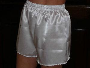 White Poly Satin Boxer Shorts  X /  Large