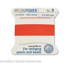 Azul oscuro Nylon Potencia sedoso Hilo 0,35 mm Encordar Perlas Y Cuentas Griffin 1