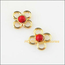 20 New Red Turquoise Charms Connectors Gold Plated Round Flower Pendants 9.5mm