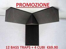 kit bass traps 12 cattura bassi 25x50cm + 4 cubi 25x25cm