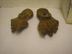 Vintage Hand Carved Wooden Foot Candle Holders Ornate Feet Candle Holder