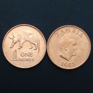 Zambia 1 Ngwees, 1983, KM#9a, Animals, one coin, UNC