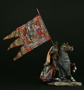 Tin soldier, Museum (TOP), Medieval Knight with Standard 54 mm, Medieval