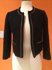 Forever 21 Marc Jacob Inspired Black Tweed Gold Chain Trim Crop Jacket Coat