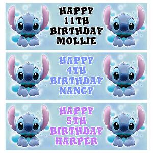 DISNEY STITCH Personalised Birthday Banner - Birthday Party Banner - 1x3ft - D4