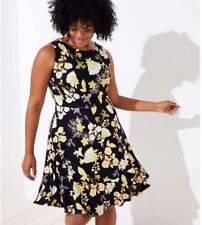 LOFT Plus Women's Golden Floral Flare Dress - NWT - Black - Size 18