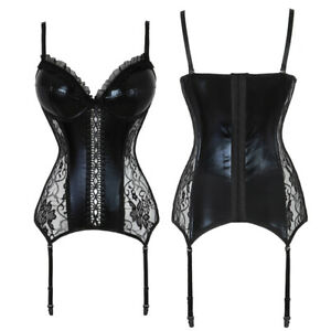 Leather Overbust Garters Sexy-lingerie Corset Bustier Plus Size Lace Hook&Eyes
