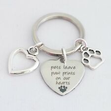 """pets leave paw prints on our hearts"" memory key ring pet dog cat rhodium charm"