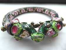 Rare antique India Maharaja Mughal elephant enamel lotus jeweled bangle bracelet