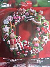 Christmas Bucilla Felt Applique Kit,COOKIES & CANDY WREATH,Gingerbread,86264,NIP