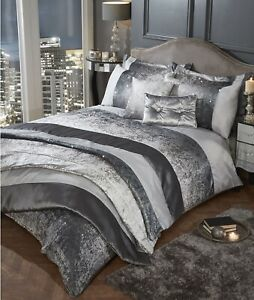 Crushed Velvet Quilted Bedspread Bed Throwover Throw Pillowshams Silver Grey New