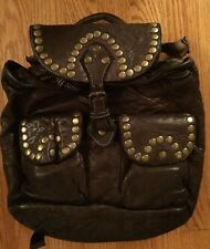 LANGELLOTTI VINTAGE Hand Made & Dyed Italian Studded Leather Backpack $300+ NWT