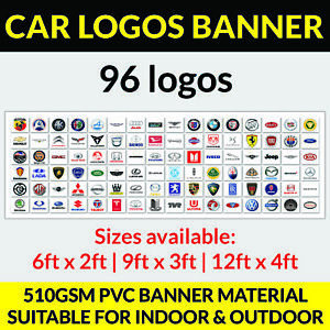 96 car logos Garage Banner PVC Sign, Workshop office mancave bmw audi ford