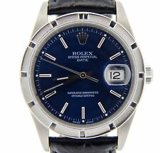 Men Rolex Date Stainless Steel Watch Quickset Black Leather Band Blue Dial 15210