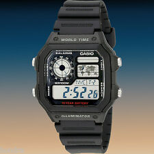 Casio World Time 4 World Time Zones Display 5 Alarms Watch AE1200WH-1AV New