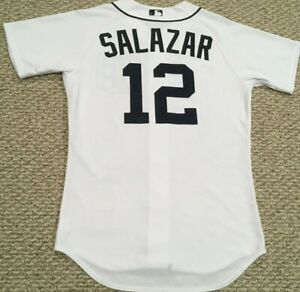 SALAZAR size 42 #12 TBTC Detroit Tigers home white game jersey issued KNIT