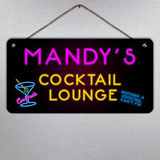 Personalised Large Neon Style Cocktail Plaque- Metal Sign Custom Bright Gift
